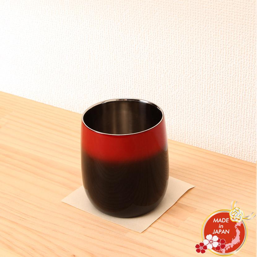 【日本の工芸品】山中漆器 漆磨二重ロックカップ ダルマ 黒 彩