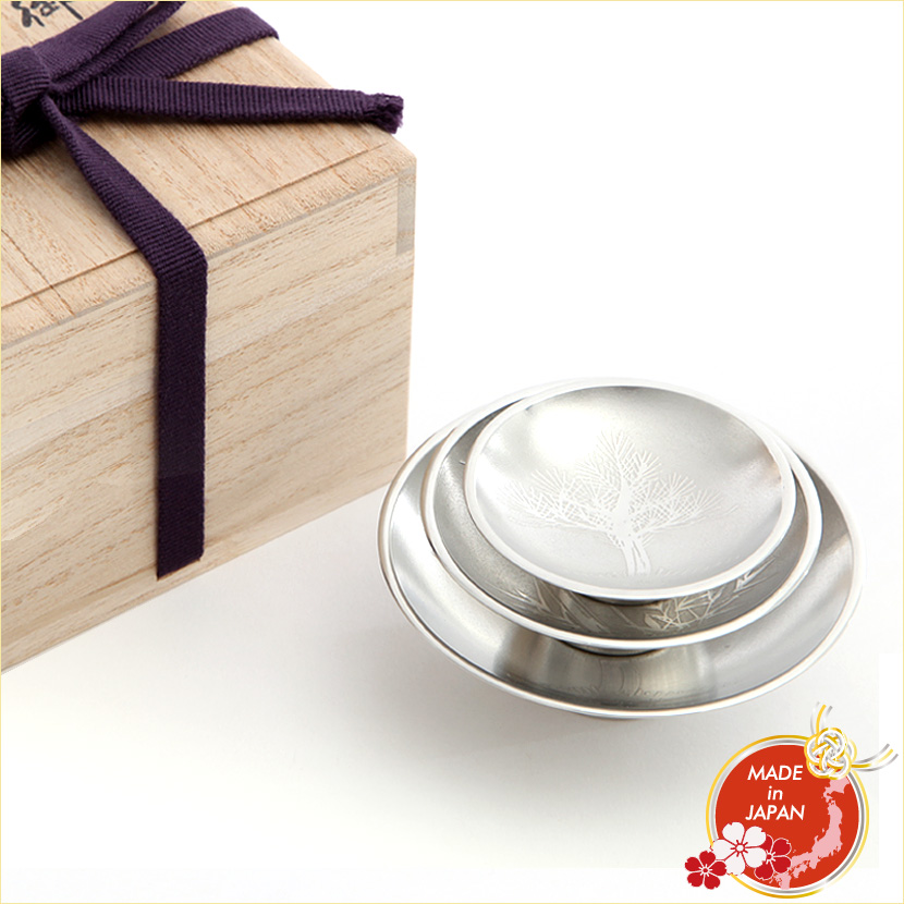 【日本の工芸品】大阪錫器 錫 酒器 3.0 三ッ重 白上 平盃 3個セット