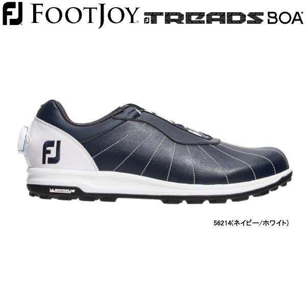 【20年モデル】フットジョイ スパイクレス ゴルフシューズ FJ トレッド ボア (Men's) 56214 (ネイビー/ホワイト) 横幅(ウィズ)/W FOOTJOY TREADS Boa