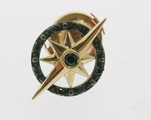 【送料無料】《CICO》 K18ピンクゴールドブラックダイヤモンド入りタイピン【代金引換利用不可】【返品不可】