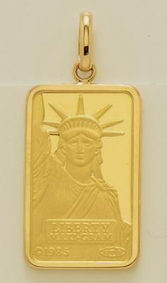 """【送料無料】《純金5g》""""リバティー(自由の女神)""""ファインゴールドインゴットペンダント[本体:K24(24金)][外枠:K18(18金)]《クレディー・スイス銀行発行・FINEGOLD999.9(9999)》【代金引換利用不可】【返品不可】"""