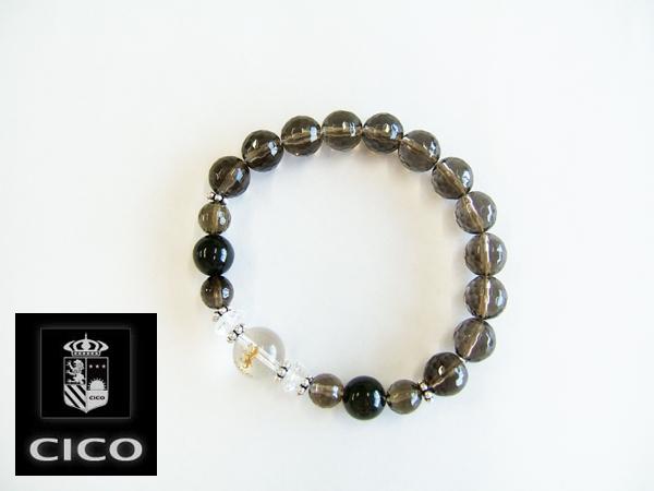 【CICO】ブラックスター+スモーキーC《仕事運、勝負運、勉強運、厄除けの石・天然石・パワーストーン・男性用(メンズ・Mensブレスレット)》