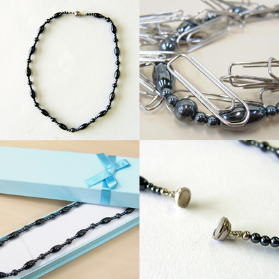 Magnetic hematite necklace << magnetic necklace for a stone, a power stone, the natural stone, woman of healthy luck, work luck, the game luck >>