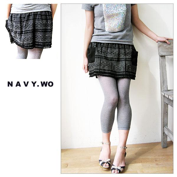 【J-pia価格】NAVY WO[ネイビー ウォ]ボーダーステッチミニスカート風キュロット スカートのようで、スカートじゃない。コレ、実はキュロットパンツなんです♪【shop ジェイピア】 【店頭受取対応商品】