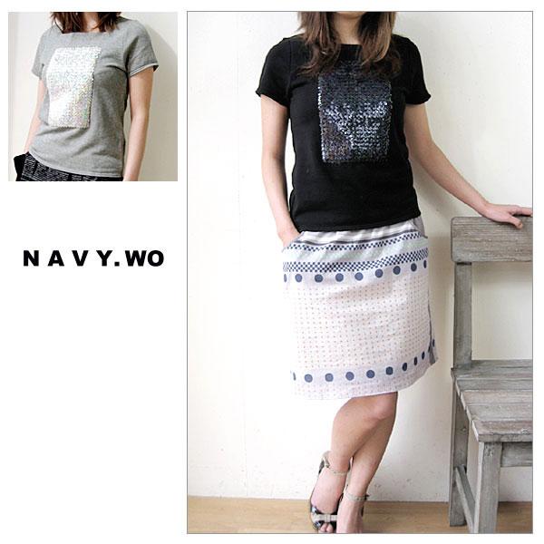 【半額】NAVY WO [ネイビー ウォ] スクウェアネック スパンコール Tシャツ カットソー 半袖 キラキラ輝くスパンコールのデコレーションがゴージャス♪ 【shop ジェイピア】 【店頭受取対応商品】