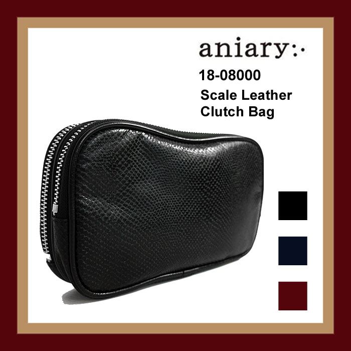 aniary アニアリ クラッチバッグ ダブルジップ セカンドバッグ Scale Leather (牛革/日本製) 国内 【正規品】 18-08000 Clutch