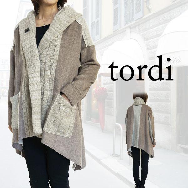 【60%off】tordi 【トルディ】 レディース ウール コート ジャケット ショールカラー ケーブルニット アウター