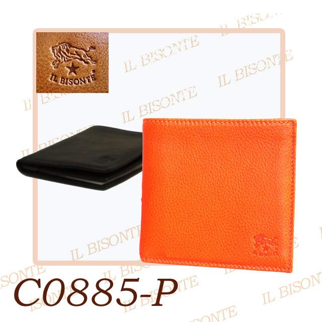 IL BISONTE イルビゾンテ 二つ折り財布 LEATHER WALLET レザー 本革 カードケース 【イタリア本国 正規品】 model-C0885-P (153)BLACK/(166)ORANGE