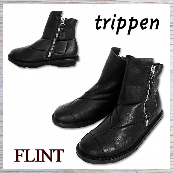 [Sale 10%OFF] トリッペン FLINT trippen レザーブーツ アンクルブーツ レディース 本革 サイドジップ付き 国内 【正規品】 FLINT-F WLF-72