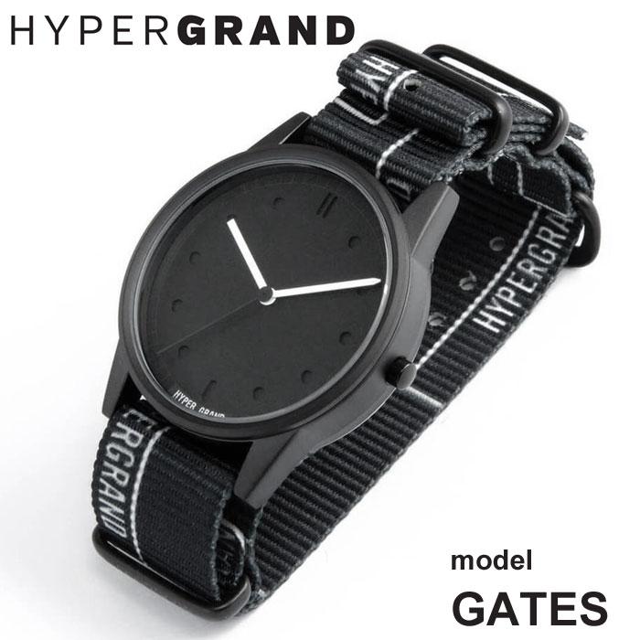 HYPERGRAND ハイパーグランド 腕時計 メンズ レディース GATES アナログ クォーツ グラフィックナイロンベルト 国内 【正規品】 148541 NW01GATE BK/BK 【2018 New】[クーポン対象外]