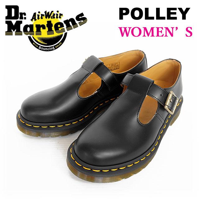 Dr.Martens ドクターマーチン レディース POLLEY ポリー Tバー シューズ レザー 本革 Tストラップベルト 国内 【正規品】 POLLEY 14852001 BLACK SMOOTH ブラック [2018 AW New]