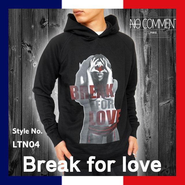 [20%offSale]ノーコメント パリ NO COMMENT PARIS NC-HDM LTN04 グラフィック プリント プルオーバー パーカー スウェット 裏起毛 メンズ 国内 【正規品】NC-HDM LTN04 Break for love
