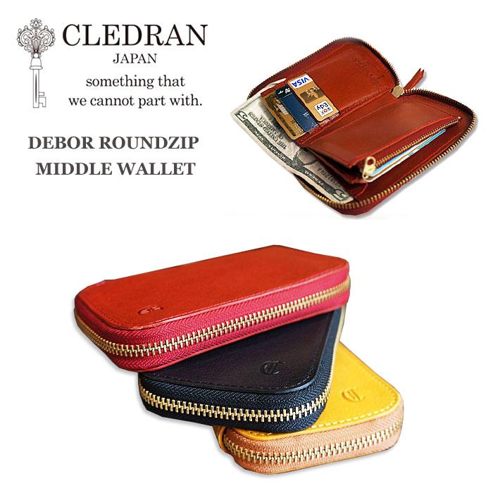 b69e654f8308 [エントリーでポイント20倍]CLEDRANクレドラン財布二つ折り財布ラウンドジップレディース