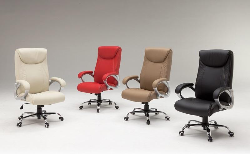 オフィスチェアー・ピース(HLC-1272)【4色対応】【ブラック】【ブラウン】【アイボリー】【レッド】【回転・昇降タイプ】【ロッキング】