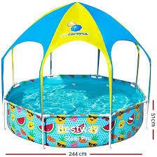 簡単組立 大きいフレームプール Bestway ベストウェイ キッズフレーム丸形デラックスKR244 244 × 無料 高い素材 51 Shade Play Splash 56432 In cm Pool