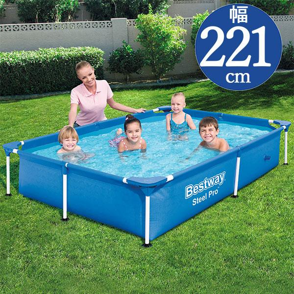 簡単組立 大きいフレームプール Bestway ベストウェイ 長方形フレームプールRF740 221 × 150 最新 出荷 Frame Steel 43 56401 Pool Pro cm