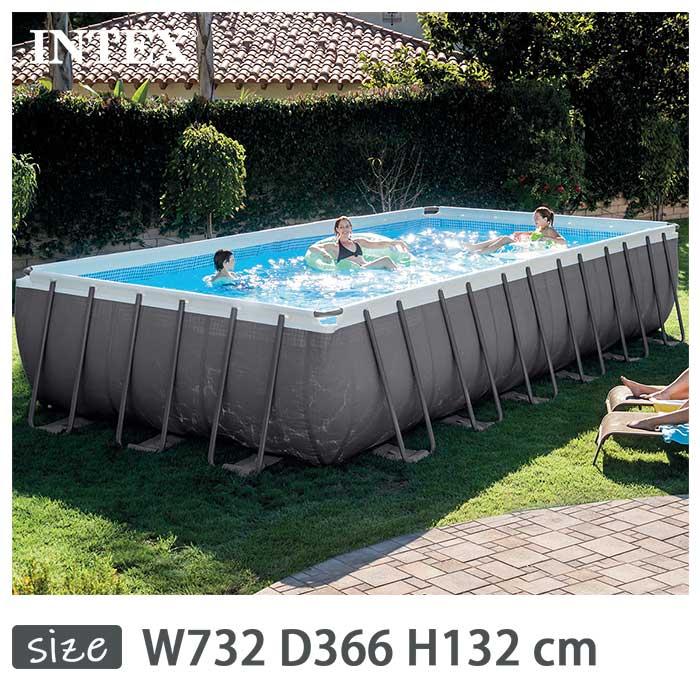 INTEX(インテックス)長方形ウルトラフレームプールUMP122452【 732 × 366 26361 732 × 366 132 cm】Ultra Frame Pool 26361 正規品, アジムマチ:a34c3e9e --- officewill.xsrv.jp