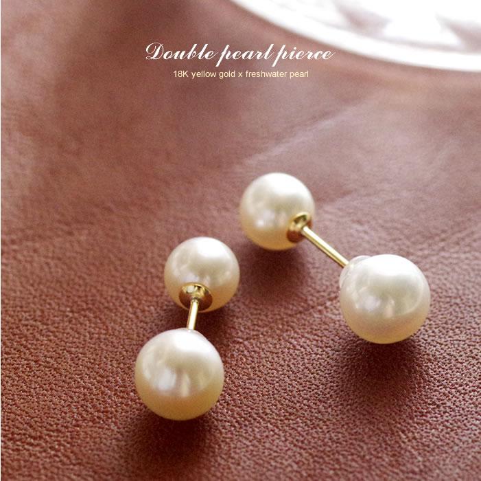 淡水パールピアス K18 YG イエローゴールド 18K 18金 淡水真珠 キャッチもパール レディース 女性用 ジュエリー おしゃれ シンプル 大人 可愛い つけっぱなし バレンタイン