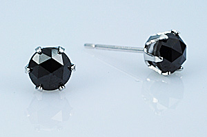 ブラックダイヤ ローズカットピアス (TOTAL 1.00ct) レディース 女性用 ジュエリー おしゃれ シンプル 大人 可愛い つけっぱなし アレルギー対策 日本製