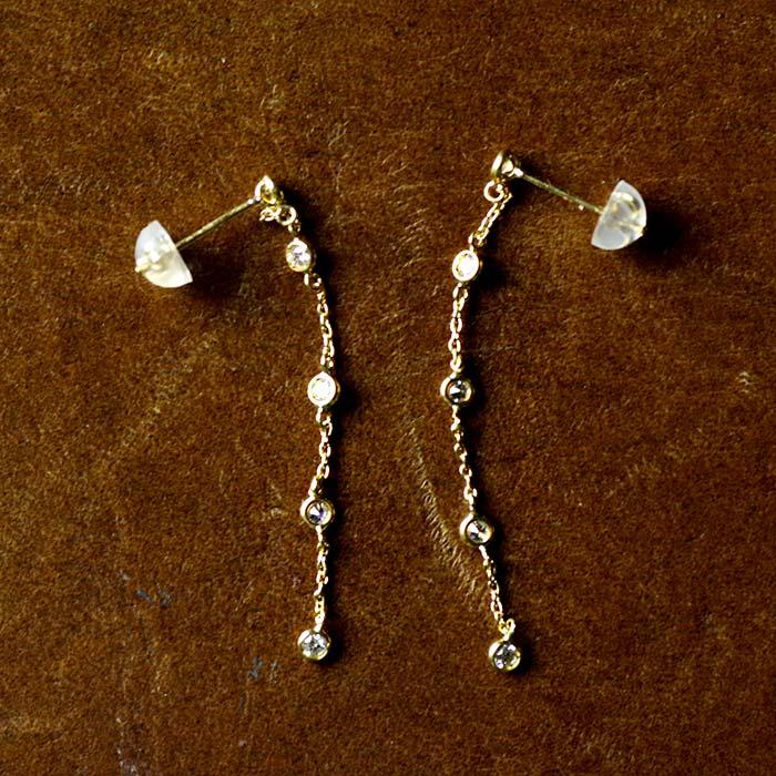 ダイヤモンド 0.20ct K18YG イエローゴールド 18K 18金 チェーンピアス クラシカル レディース 女性用 ジュエリー おしゃれ シンプル 大人 可愛い つけっぱなし アレルギー対策 日本製