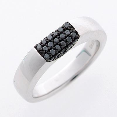 [スピード配]ホワイトゴールド(K18WG) ブラックダイヤモンド リング(D 0.25ct/男女兼用/パヴェ)【宝石 ジュエリー】【プレゼント】【刻印無料】*