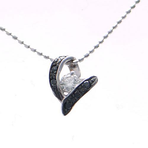 【上質ジュエリー】ホワイトゴールド(K18WG) ダイヤ/ブラックダイヤネックレス(ハート)【宝石 ジュエリー】【プレゼント】【刻印無料】*