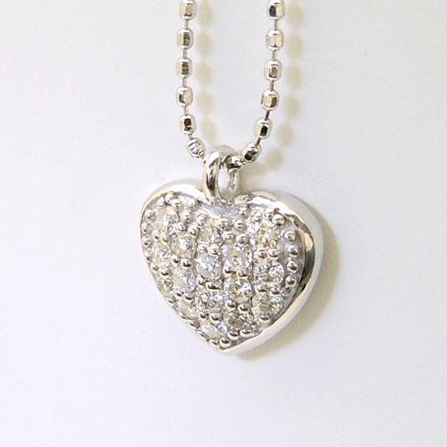 ホワイトゴールド(K18WG) ダイヤモンド ネックレス(ハート/パヴェ)【宝石 ジュエリー】【プレゼント】【刻印無料】*