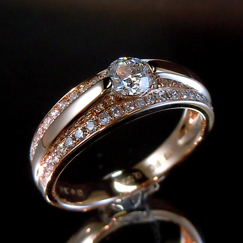 【上質ジュエリー】ピンクゴールド(K18PG) ダイヤモンド リング(TOTAL0.60ct/ピンクゴールド)【ハイクラス】【宝石 ジュエリー】【プレゼント】【刻印無料】*