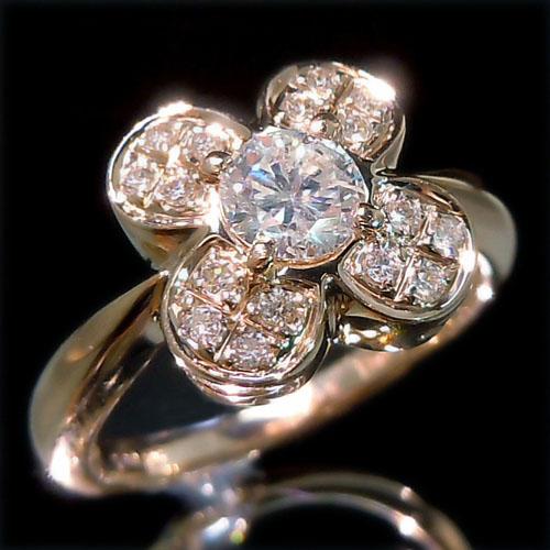 【上質ジュエリー】ピンクゴールド(K18PG) ダイヤモンド リング(TOTAL0.5ct/ピンクゴールド)【ハイクラス】【宝石 ジュエリー】【プレゼント】【刻印無料】*