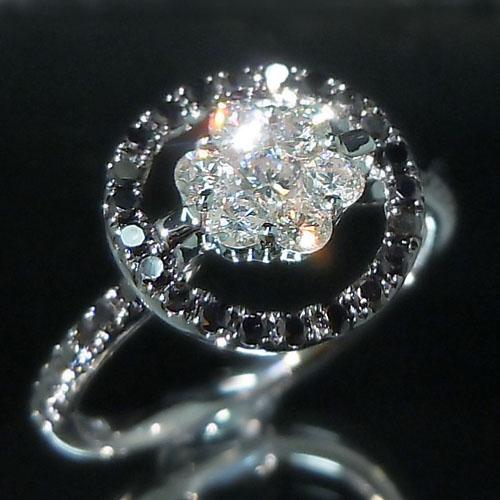 ホワイトゴールド(K18WG) ダイヤモンド/ブラックダイヤ リング(TOTAL 0.75ct)【ハイクラス】【宝石 ジュエリー】【プレゼント】【刻印無料】*