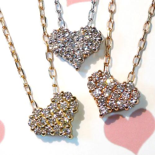 【上質ジュエリー】【あす楽】ホワイト・イエロー・ピンクゴールド(K18WG/YG/PG)ダイヤモンド ネックレス(ハート/ハート&キューピッド)【宝石 ジュエリー】【プレゼント】【刻印無料】*