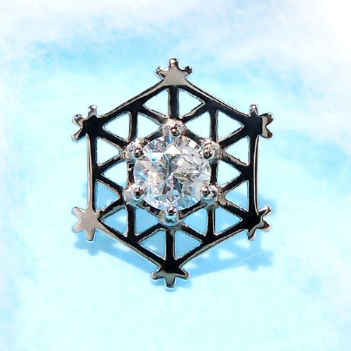 (Pt900) 白金鑽石別針徽章 (D 0.30 ct / 雪晶體 / 雪 / 雪花 / 人) 10P20Oct16