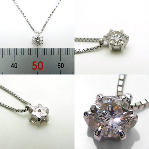 Platinum (Pt900) diamond necklace (more than 0.3 ct / one stone and 6 nails / Platinum / Diamond grain)