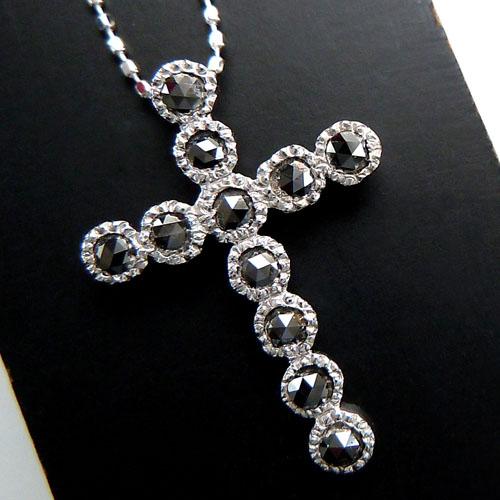 【上質ジュエリー】ホワイトゴールド(K18WG) ブラックダイヤモンド ネックレス(ローズカット/十字架/クロス/ミル打ち)【宝石 ジュエリー】【プレゼント】【刻印無料】*