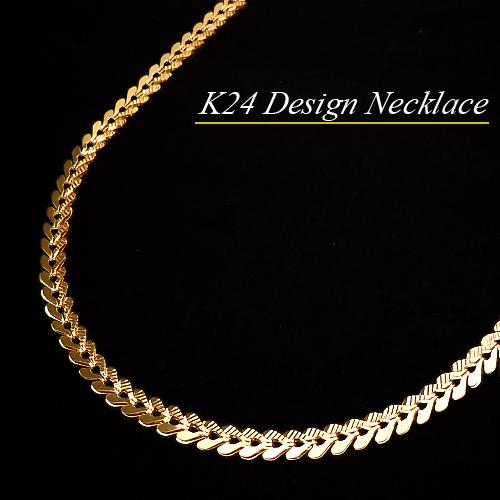[地金・チェーン]K24(純金) デザインネックレス(長さ42cm/重さ約10g/ハート/ピュアゴールド/太め)【宝石 ジュエリー】【プレゼント】【刻印無料】*