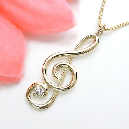 イエローゴールド(K10YG) ダイヤモンド ネックレス(音符/ト音記号/音楽)【宝石 ジュエリー】【プレゼント】【刻印無料】*