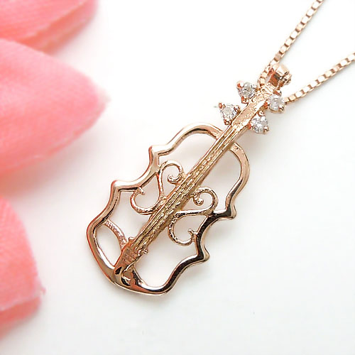 【上質ジュエリー】【あす楽】ピンクゴールド(K10PG) ダイヤモンド ネックレス(バイオリン/楽器/音楽)【宝石 ジュエリー】【プレゼント】【刻印無料】*
