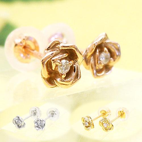 ホワイト/イエロー/ピンクゴールド(K14WG/K18YG/K18PG) ダイヤモンド バラピアス(薔薇/ローズ/一粒ダイヤ)【宝石 ジュエリー】【プレゼント】*