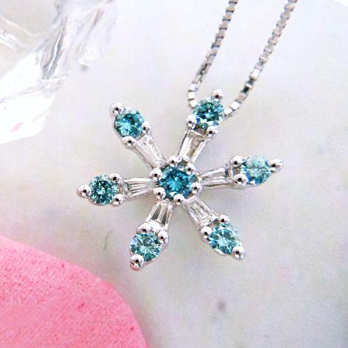 ホワイトゴールド(K18WG) ブルーダイヤモンド ネックレス(結晶/スノー/雪)【宝石 ジュエリー】【プレゼント】【刻印無料】*