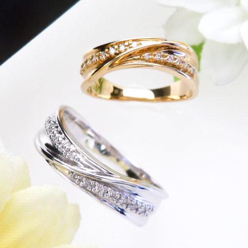 【上質ジュエリー】ホワイト/イエローゴールド(K18WG/YG) ダイヤモンド リング(Total 0.1ct/幅広)【宝石 ジュエリー】【プレゼント】【刻印無料】*