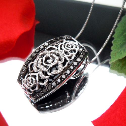 【上質ジュエリー】ホワイトゴールド(K18WG) ダイヤモンド ネックレス(Total 0.45ct/ローズ/バラ/薔薇)【宝石 ジュエリー】【プレゼント】【刻印無料】*