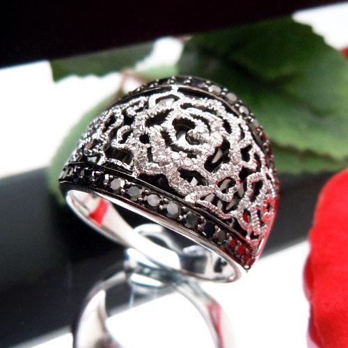 【上質ジュエリー】ホワイトゴールド(K18WG) ダイヤモンド リング(Total 0.50ct/ローズ/バラ/薔薇)【宝石 ジュエリー】【プレゼント】【刻印無料】*