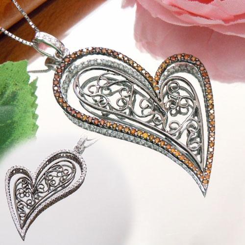 [スピード配]ホワイトゴールド(K18WG) ダイヤモンド ネックレス(Total 1.20ct/ハート/リバーシブル)【宝石 ジュエリー】【プレゼント】【刻印無料】*