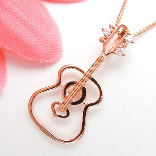 ピンクゴールド(K10PG) ダイヤモンド ネックレス(D 0.01ct/音楽シリーズ/ギター/楽器/透かし)【宝石 ジュエリー】【プレゼント】【刻印無料】*