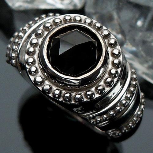 【上質ジュエリー】シルバー(SV925) ブラックダイヤモンド リング(メンズ/ローズカット/幅広/)【宝石 ジュエリー】【プレゼント】【刻印無料】*