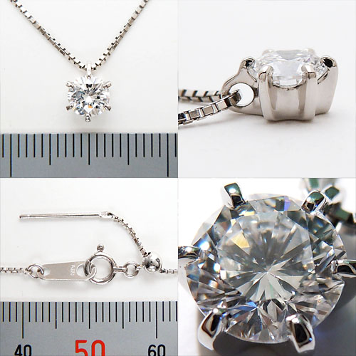 Platinum (Pt900) diamond necklace (more than 0.5 ct / 6 grain stone / nails / Platinum / Diamond grain)