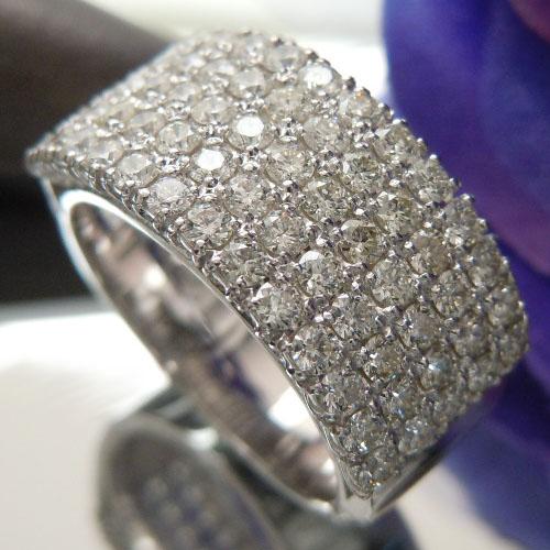 [スピード配]ホワイトゴールド(K18WG) ダイヤモンド リング(Total 1.50ct/パヴェ/H&Q/幅広)【ハイクラス】【宝石 ジュエリー】【プレゼント】【刻印無料】*