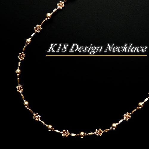 [地金・チェーン]イエローゴールド (K18YG) デザイン ネックレス(約4g/お花/フラワー)【宝石 ジュエリー】【プレゼント】【刻印無料】*