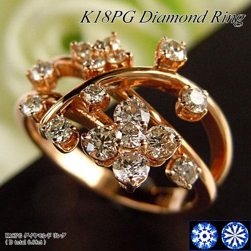 【上質ジュエリー】[スピード配]ピンクゴールド (K18PG) ダイヤモンド リング(H&Q/ハート&キューピッド/フラワー/花)【ハイクラス】【宝石 ジュエリー】【プレゼント】【刻印無料】*