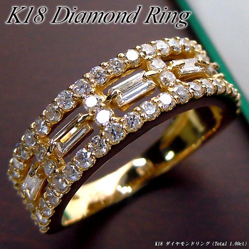 [スピード配]イエローゴールド (K18) ダイヤモンド リング(Total 1.0ct/テーパーダイヤ/角ダイヤ)【ハイクラス】【宝石 ジュエリー】【プレゼント】【刻印無料】*